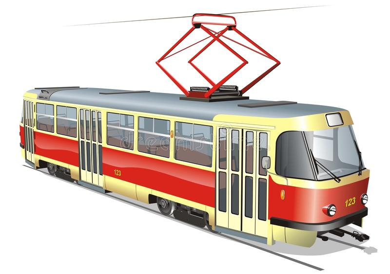 Vector urban tram. Available AI-10 format (separated by groups and layers with transparency option