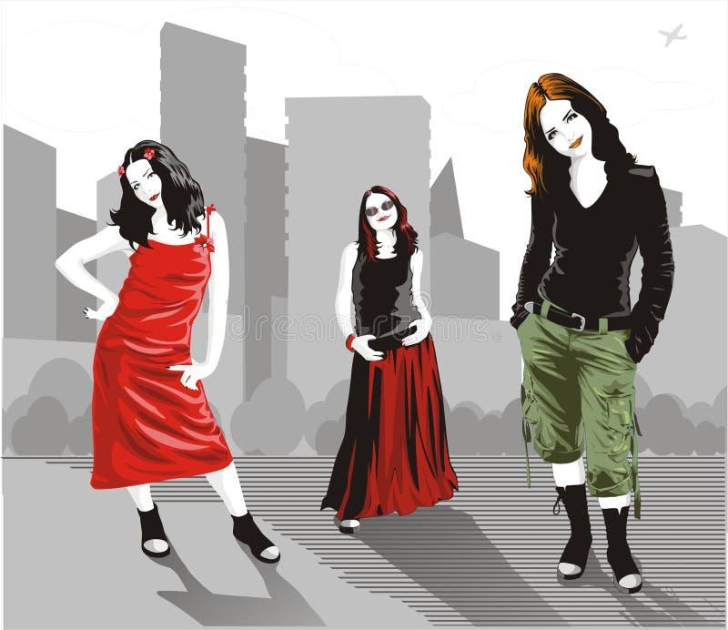 Vector urban women stock illustration