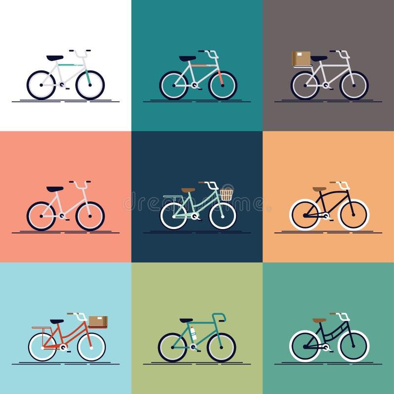 Vector urbano moderno piano, biciclette della città e municipio messe Varie biciclette differenti con le casse di legno, sedili d illustrazione di stock