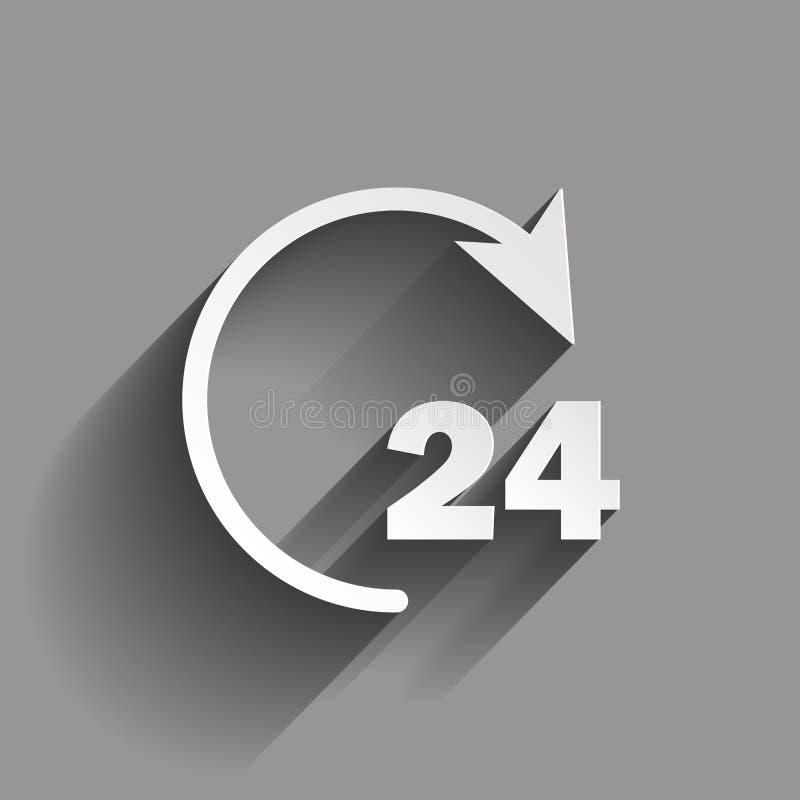 Vector 24 urenpictogram Vectorcirkel met een pijl die niet-st tonen vector illustratie
