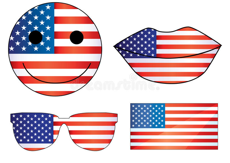 Vector USA lips Independence day heart 4th of Julys smiley July 4th fourth of July flags cartoon decorations emoji 2d eps jpg royalty free illustration