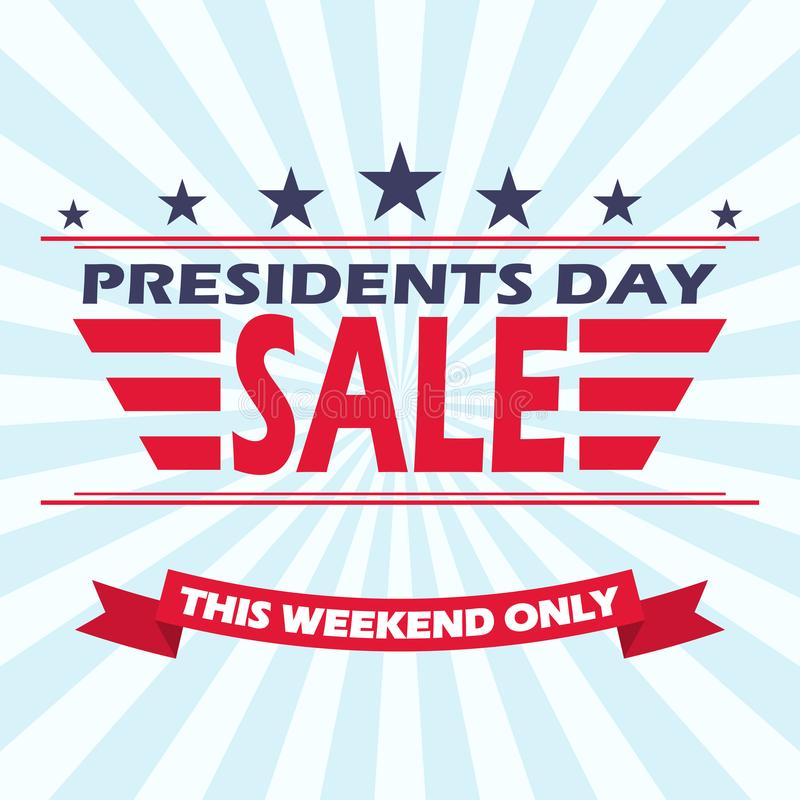 Vector USA Presidents day sale background with stars, stripes and ribbon. royalty free illustration