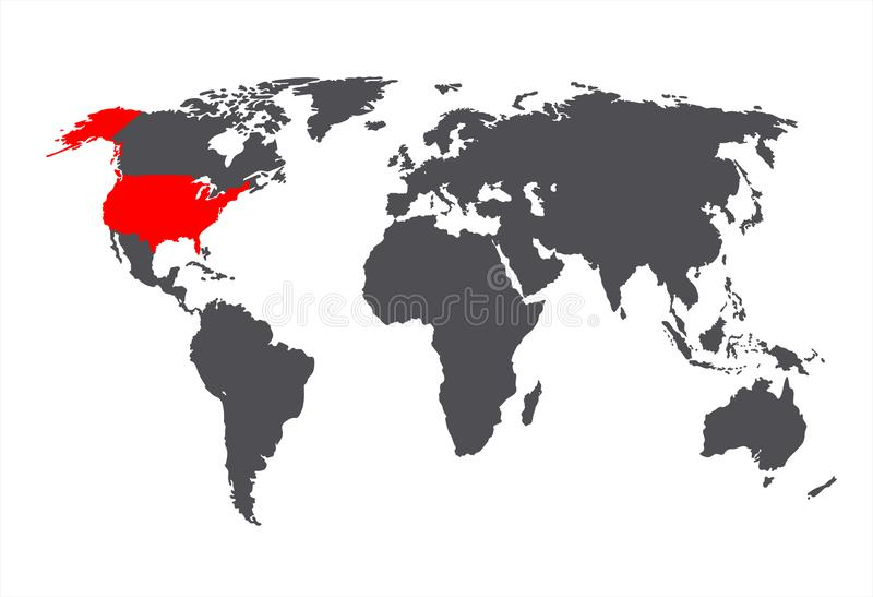 Vector USA on the World Map, Isolated Country Image. Vector USA on the World Map, Gray and Red Colors, Isolated Country Image royalty free illustration