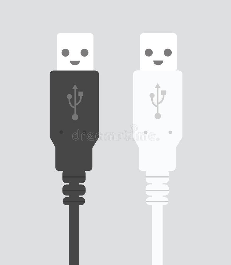 Vector USB plug black and white. Vector stock illustration