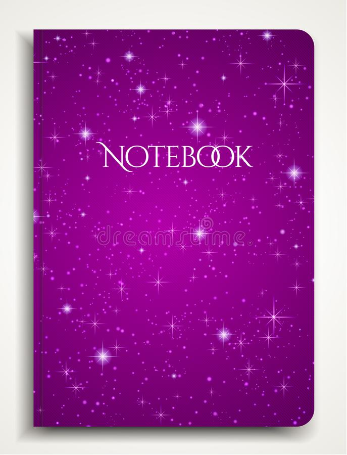 Cover designI of Notebook/ Planner with isolated sparkling twinkling Stars texture on abstract purple background vector illustration