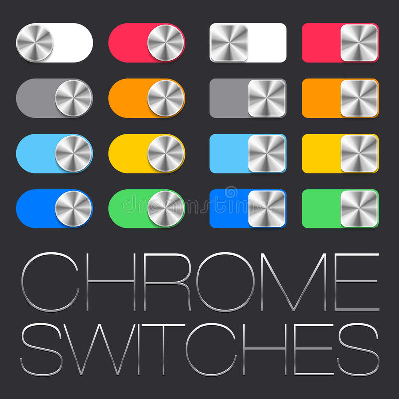Vector User Interface Set including chrome switches. In two shape variations royalty free illustration