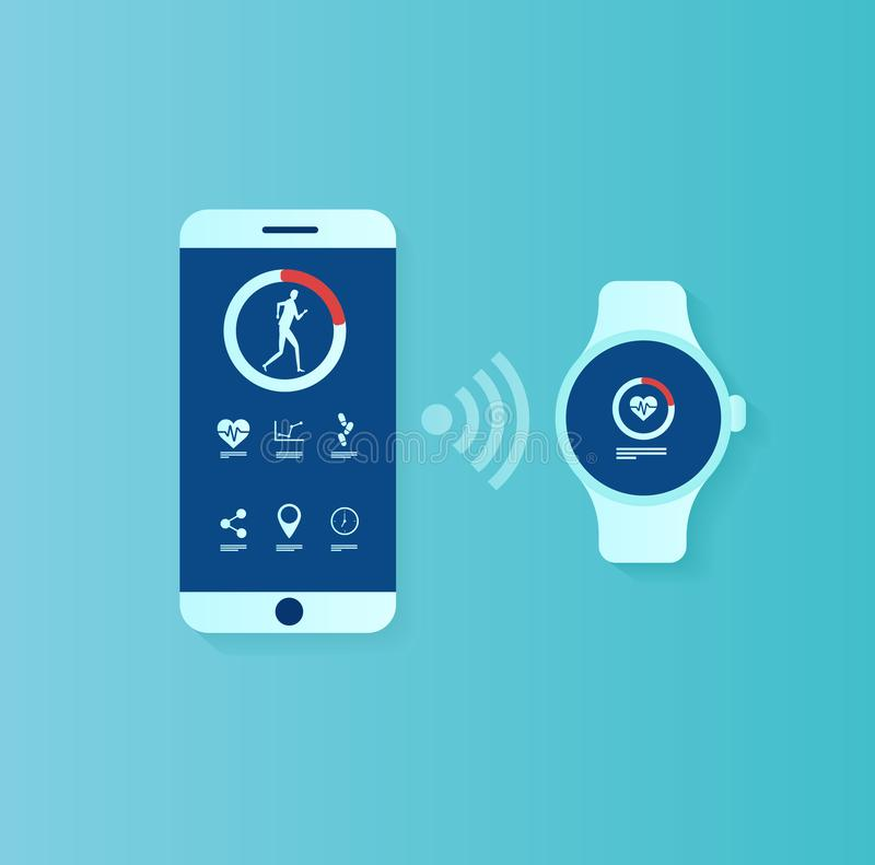 Vector of user interface for smartwatch and smartphone being synchronized stock illustration