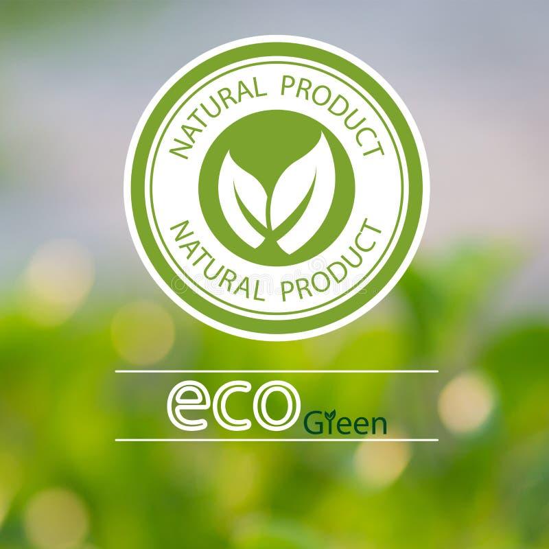 Vector vaag landschapsontwerp van groen natuurlijk productembleem de EG stock foto's