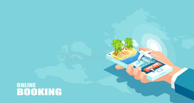 Vector vacation tourism and online booking of airline tickets concept. Buying travel package. Business flights worldwide. Boarding pass royalty free illustration