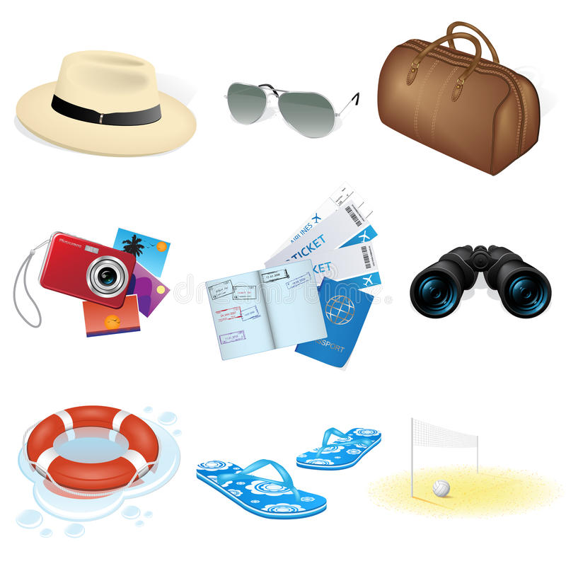 Download Vector Vacation And Travel Icons Stock Vector - Illustration of cruise, suitcase: 15532892