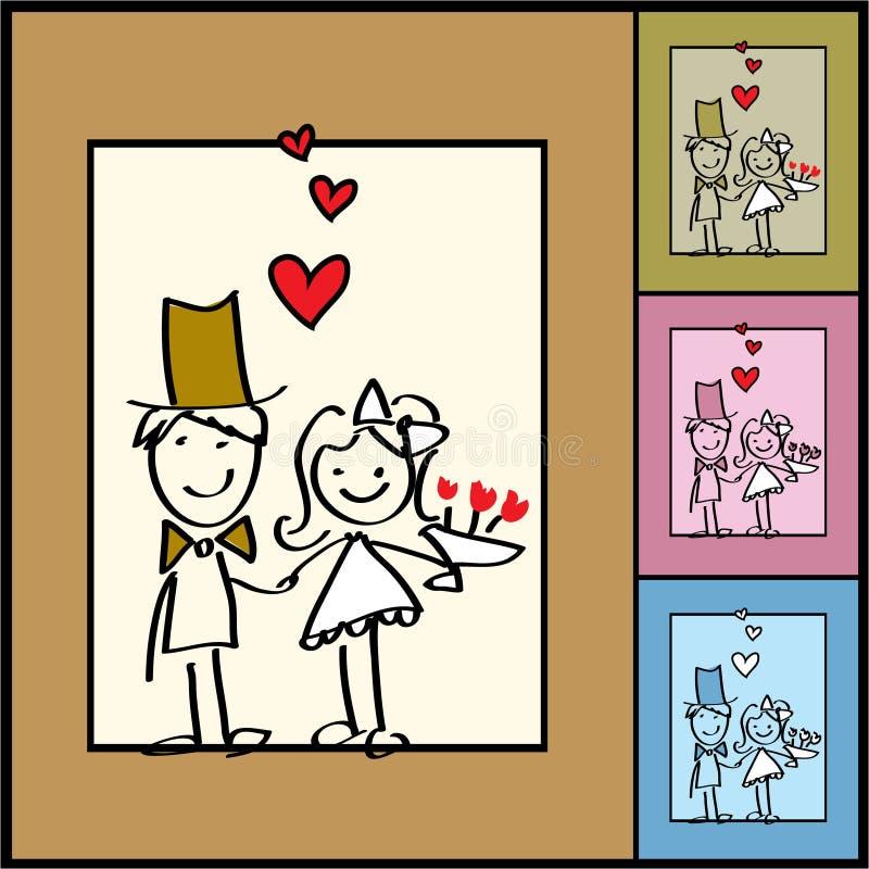 Vector valentijnskaartachtergrond, huwelijken stock illustratie