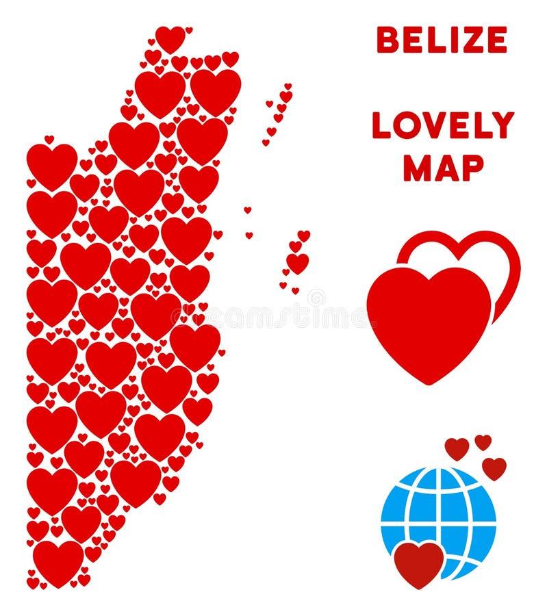 Vector Valentine Belize Map Composition de corazones ilustración del vector
