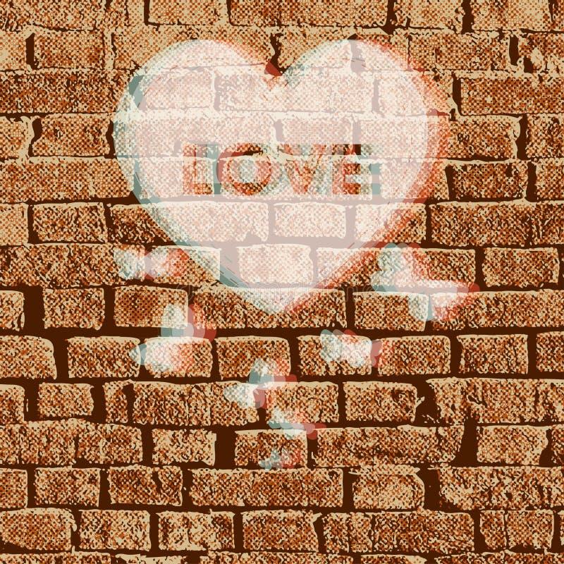 Vector valentine brickwall illustration royalty free stock photo