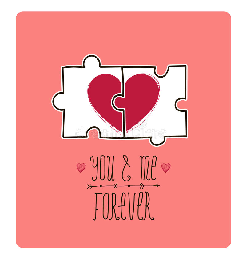 Free Vector Valentine Card. Creative Idea - Puzzle With Royalty Free Stock Images - 49925759