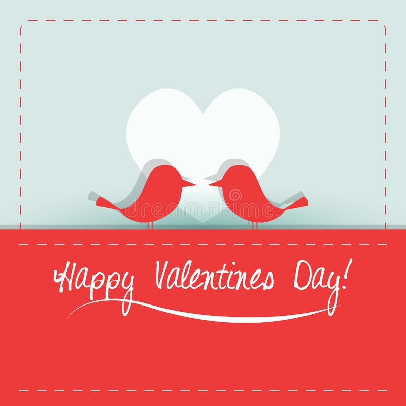Vector Valentine card with cute birds stock images