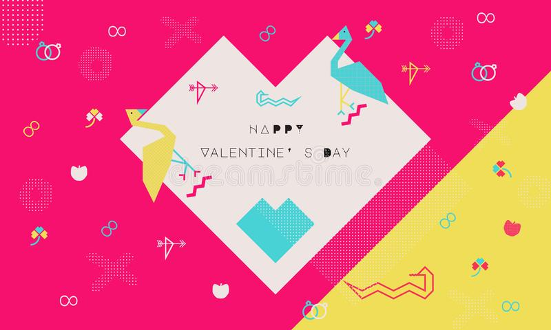 Vector for Valentine Day Adam and Eve Concept represent love between women and men, love element, geometric pattern, Memphis style vector illustration
