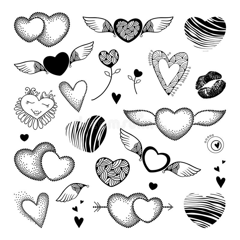Vector Valentine day set in dotwork and contour style. Lips, dotted and striped heart, wings in black isolated on white background royalty free illustration