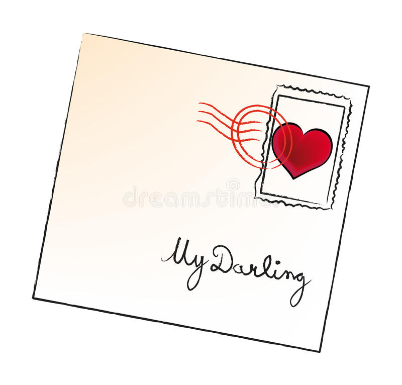 Vector valentine envelop royalty free illustration