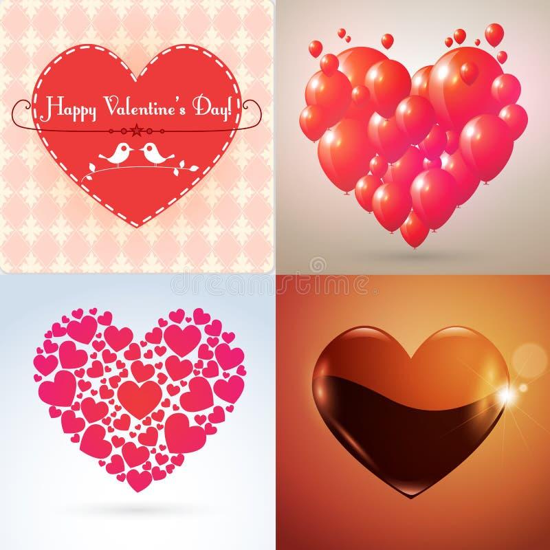 Vector Valentine hearts set stock photo