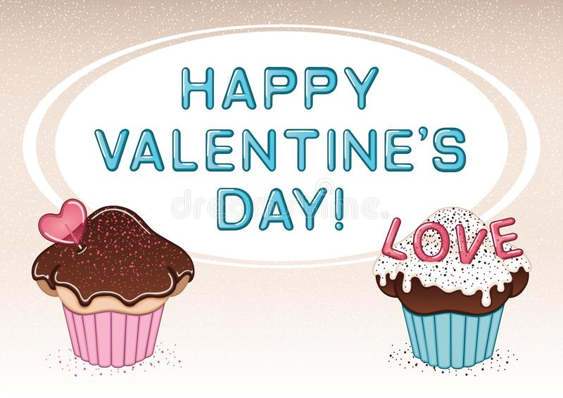 Vector valentine`s day card with two cupcakes, heart shaped lollipop, sprinkles, chocolate and vanilla cream royalty free stock images