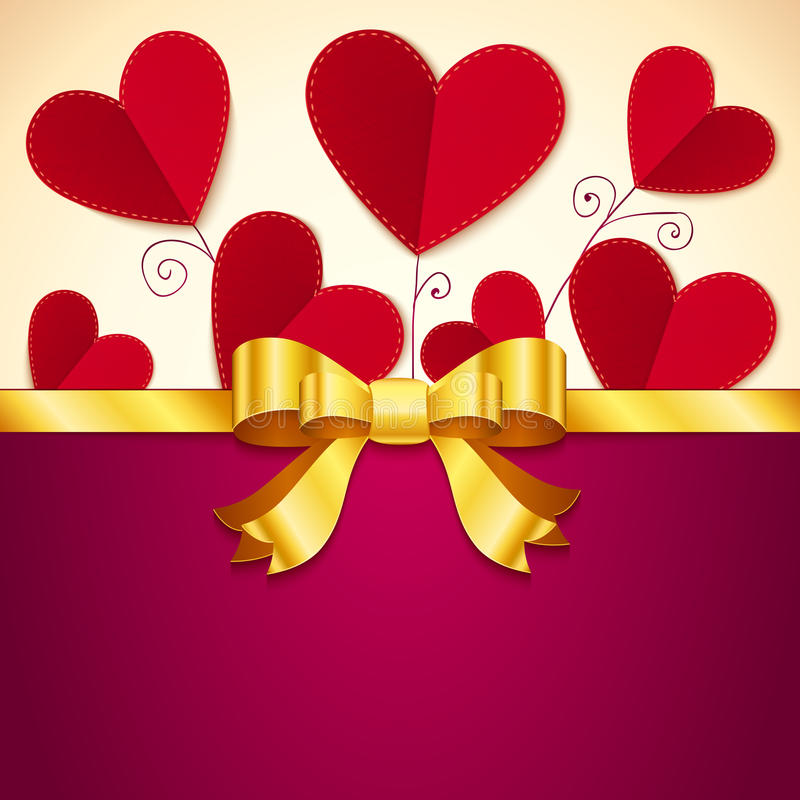 Vector Valentine's day greeting card with hearts stock illustration