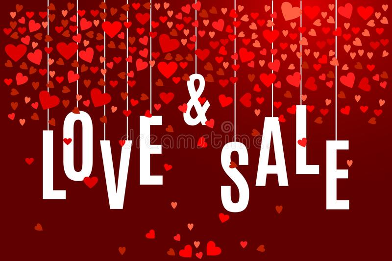 Vector Valentine`s day Love and Sale banner template with red hearts on dark wine background vector illustration