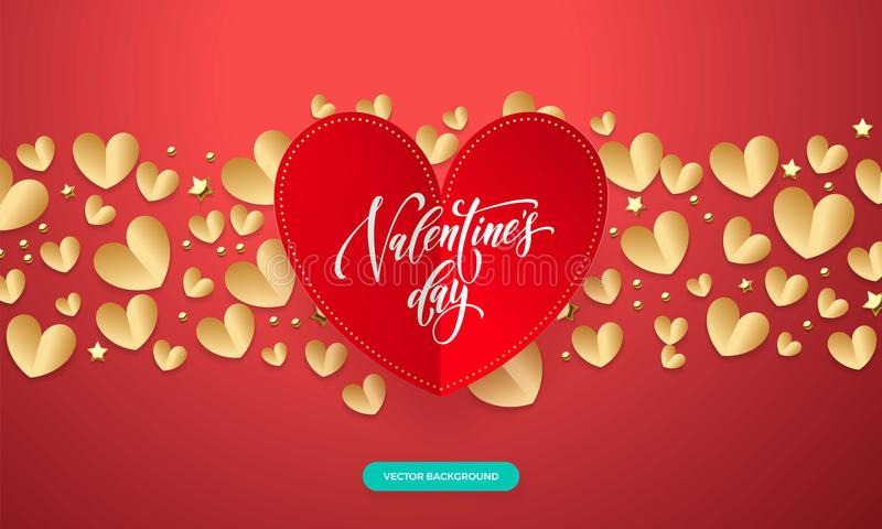 Vector Valentines background with romantic red and gold paper cut heart pattern with calligraphy lettering text Valentine`s Day f. Or love concept. Wedding stock illustration