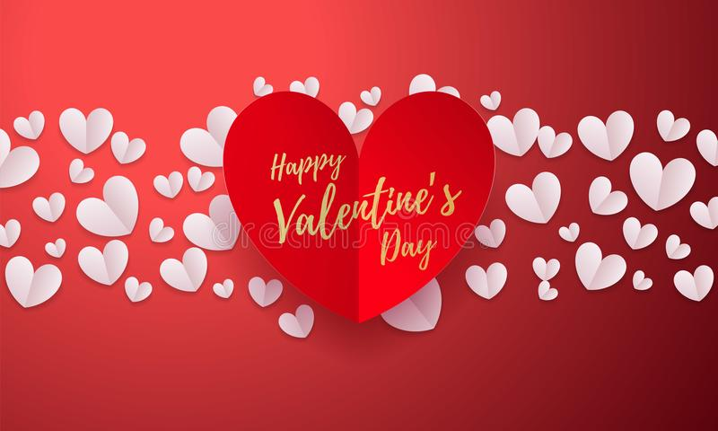Vector Valentines background with romantic red paper cut heart pattern with gold calligraphy lettering text Valentine`s Day for l royalty free illustration