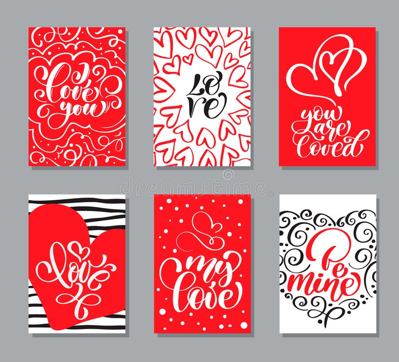 Vector Valentines day cards templates. Hand drawn February 14 gift tags, labels or posters collection. Vintage love stock illustration