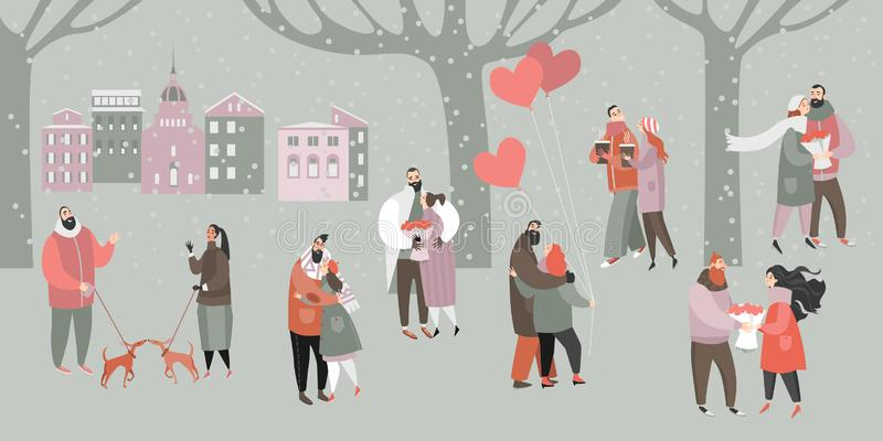 Vector Valentines day Illustration with happy couples with bouquets of flowers and balloons in the city park. Cartoon style banner vector illustration