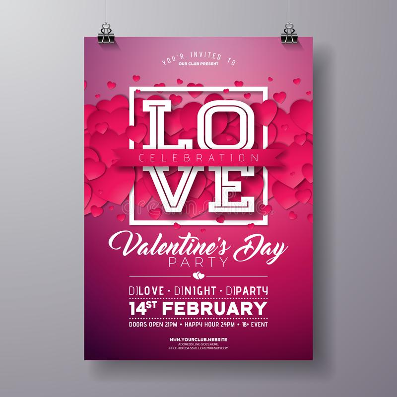 Vector Valentines Day Party Flyer Design with Love Typography Letter and Heart on Clean Background. Celebration Poster. Template for Invitation or Greeting Card vector illustration