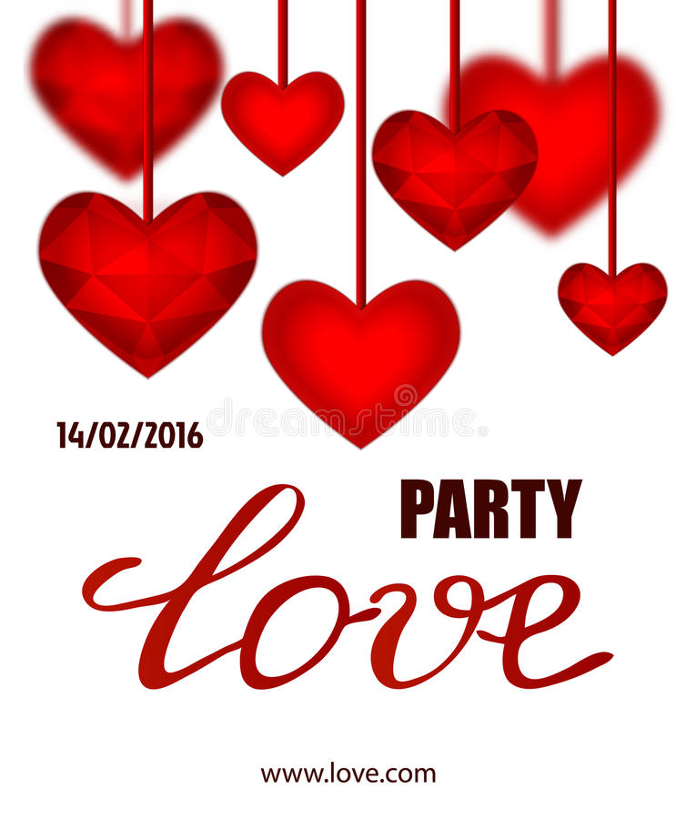 Vector Valentines Party Poster Design. Template Of Flyer Or Poster ...