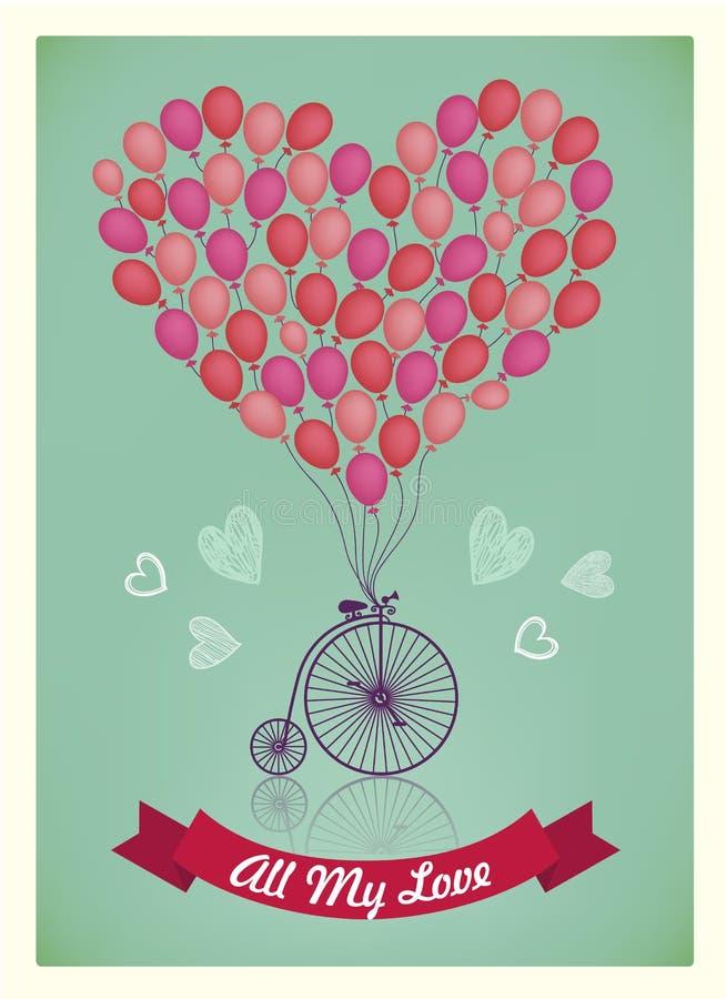 Vector Valentinsgruß, Geburtstag, lieben Sie romantische Karte stock abbildung