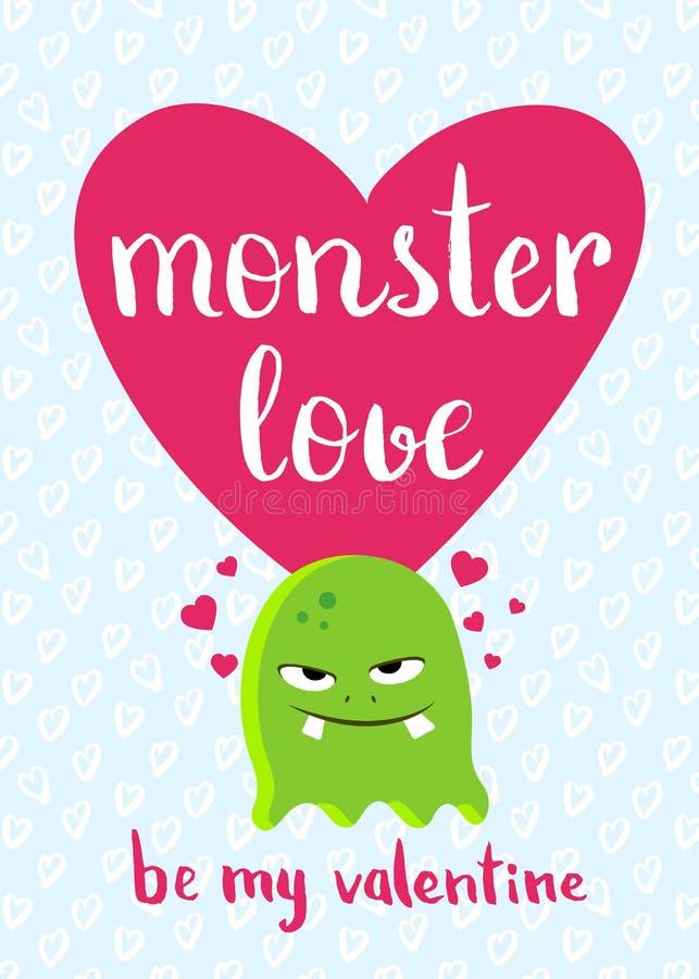 Vector Valentinsgruß-Tageskarte mit Herzen, nettem Monster und Beschriftung auf Herzhintergrund lizenzfreie abbildung