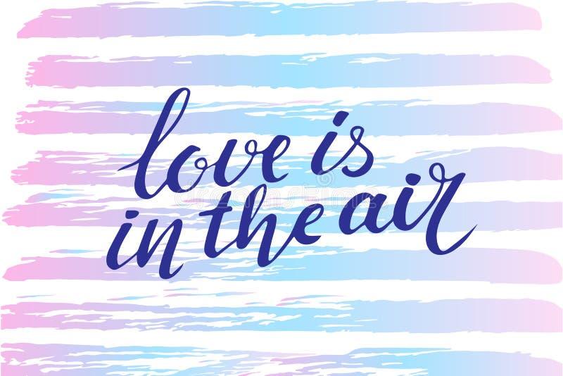 Vector Valentinsgrußtageskarte, Typografieplakat mit handdrawn Text und grafische Elemente Liebe ist in der Luft stock abbildung