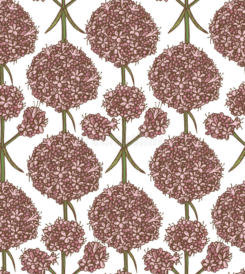 Vector valerian background. Vector valerian hand drawn graphic seamless background royalty free illustration