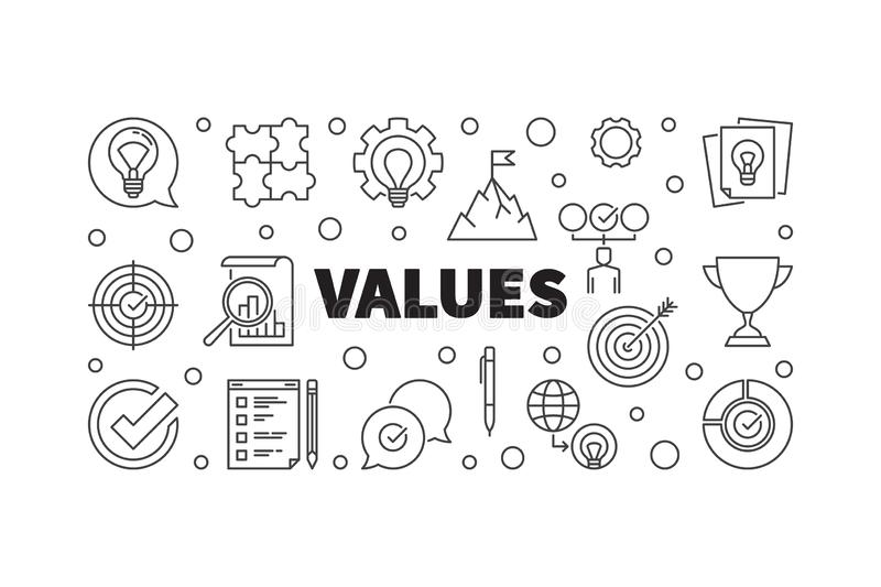 Vector Values concept banner or illustration in thin line style. Vector Values horizontal concept banner or illustration in thin line style royalty free illustration