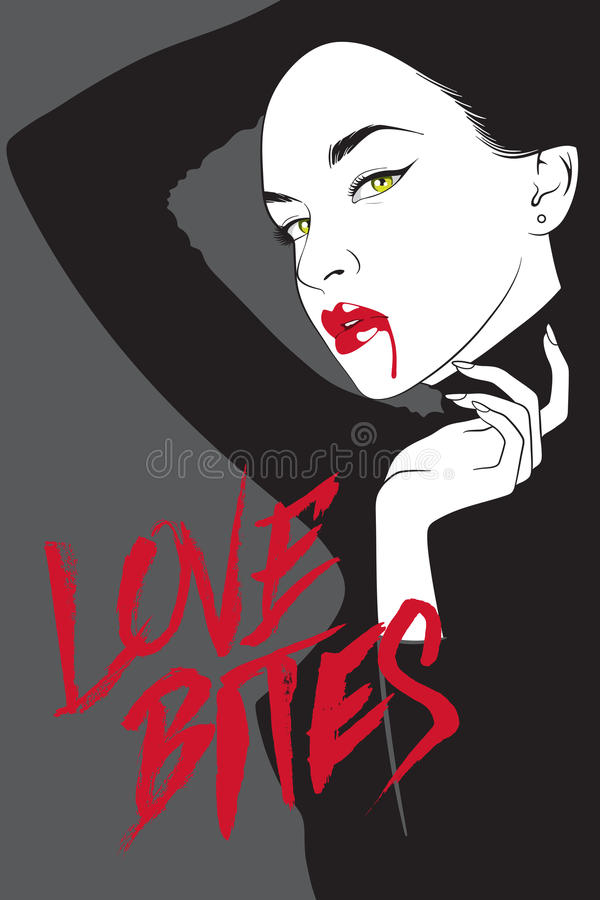 Vector vampire woman in noir comics style vector illustration