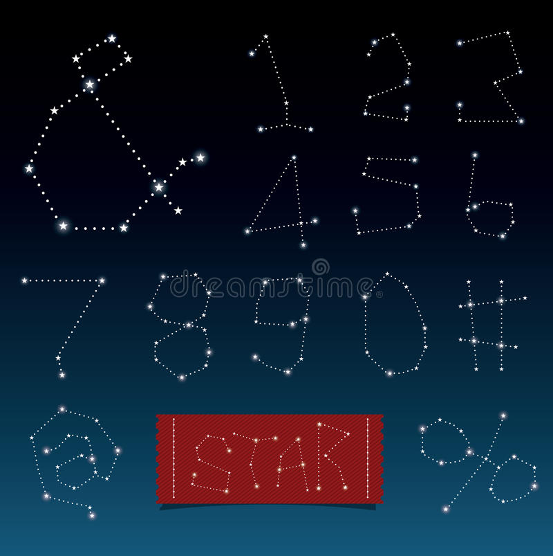 Vector van alfabetten in constellaties en stervorm stock illustratie