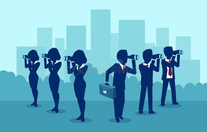Vector van bedrijfsmannen en vrouwen die naar succes zoeken die op tegenovergestelde richtingen kijken royalty-vrije illustratie