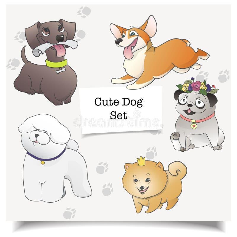 Vector van beeldverhaalhonden Verschillende die hondrassen met pawprint worden geïsoleerd stock illustratie