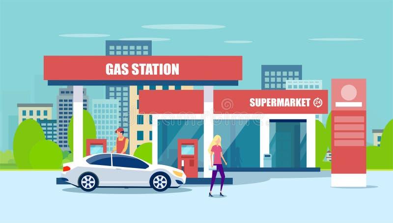 Vector van benzinestation, supermarkt, die auto van brandstof voorzien stock illustratie