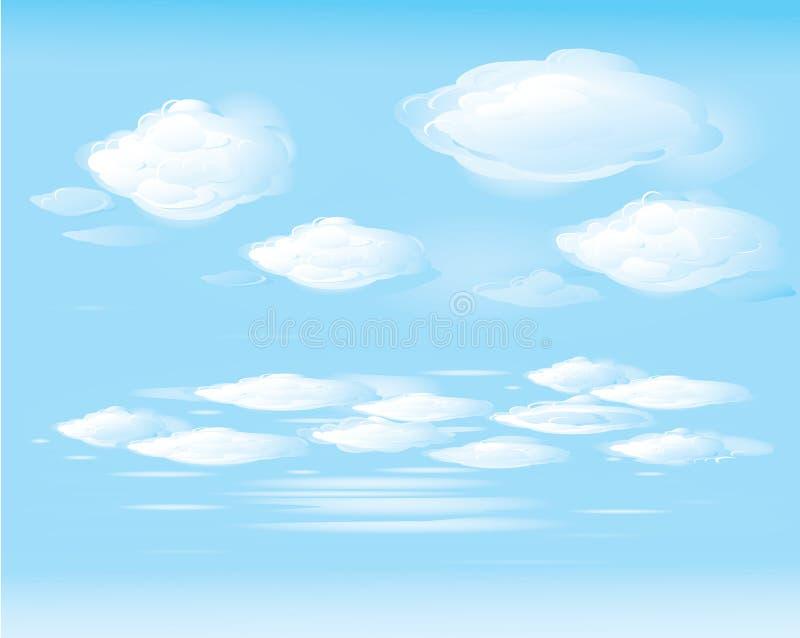 Vector van blauwe hemel en witte wolken vector illustratie