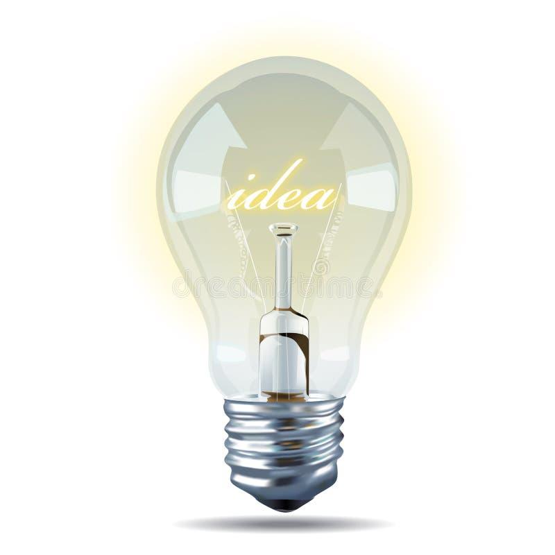 Vector van Bol licht idee op witte achtergrond stock illustratie