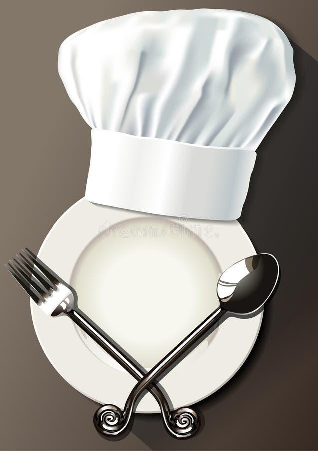 Vector van chef-kokhoed, lepel en vork op witte plaat vector illustratie