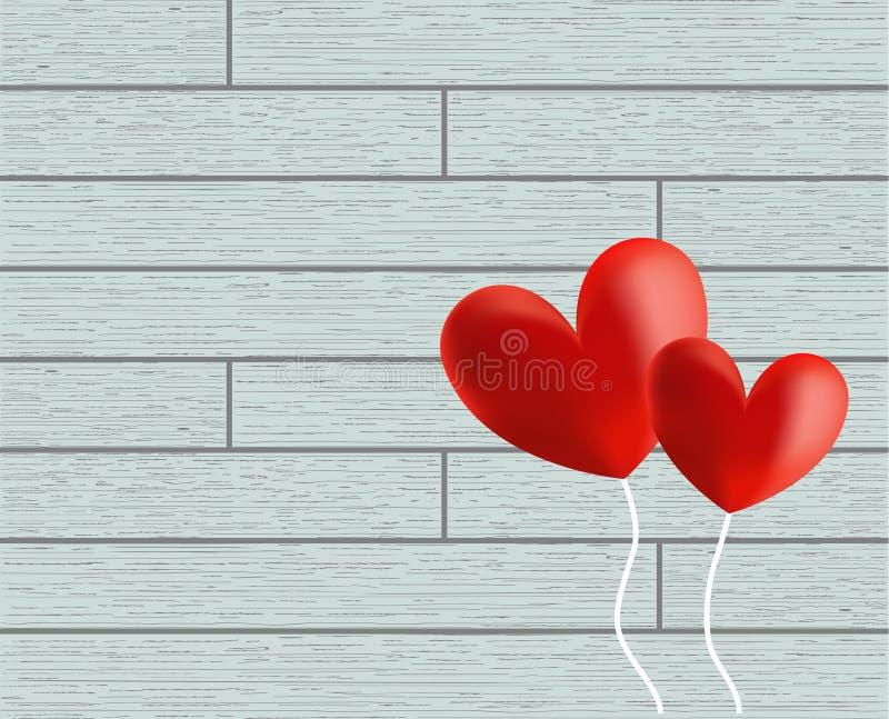 Vector van de ballons van het de Daghart van Valentine op houten achtergrond royalty-vrije stock foto