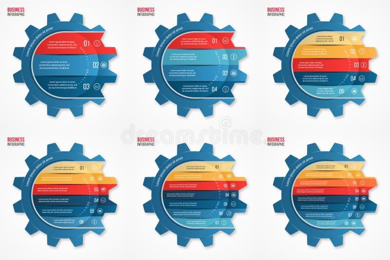Vector van de bedrijfs en de industrie geplaatste de cirkel infographic malplaatjes toestelstijl royalty-vrije illustratie