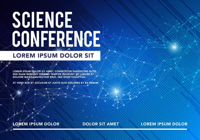 Vector van de Bedrijfs wetenschapsconferentie Ontwerp De Vergaderingsmalplaatje van de brochurevlieger stock illustratie
