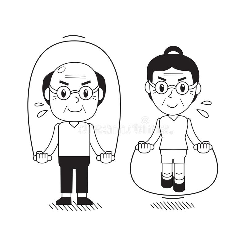 Vector van de beeldverhaal hogere man en vrouw touwtjespringen royalty-vrije illustratie