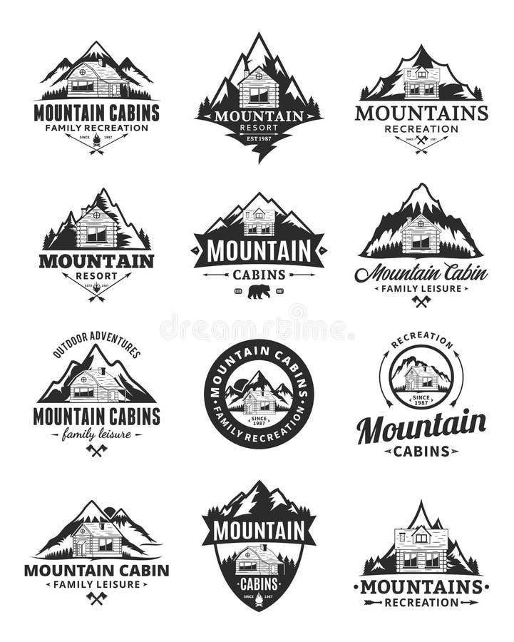 Vector van de bergrecreatie en cabine hurenembleem vector illustratie